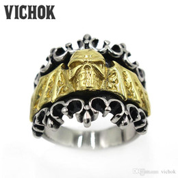Wholesale Skull Wings Rings - 316 L Stainless Steel ring Cross Skull Wings Finger Ring 2017 new fashion Brand Rings Classic jewelry hot sale menas a gifts VICHOK