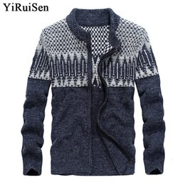 Wholesale Thick Cardigan Sweaters For Men - YIRUISEN Brand Mens Sweaters for 2017 Wool Sweatercoat With Zipper Cardigan For Men Warm Winter Clothing M-3XL B008