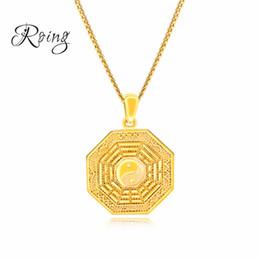 Fantastico oro design cinese Ying Yang uomini collane ciondolo Taiji Bagua pendente di fascino per gioielli maschile regalo KX690 da