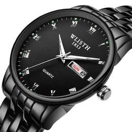 relógios tungstênio mens preto Desconto Relógio de cor de aço de tungstênio premium mens watch pulseira preta relógio de pulso masculino de aço inoxidável data calendário inglês relógio à prova d'água