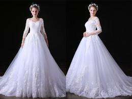 Vestidos de novia grandes mangas online-Vestidos de la novia de una boda grande Código blanca de la boda vestidos de cuello en V manga larga de tul línea larga para las mujeres vestidos de boda de DH4190