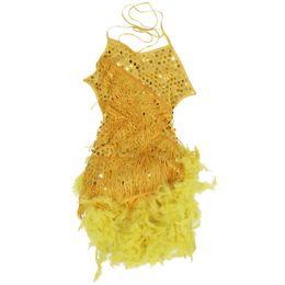 Wholesale girls fringe costume - Children Kids Sequin Feather Fringe Stage Performance Dance Costume Latin Dance Dress For Girls Yellow,L