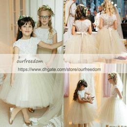 Wholesale Tea Length White Puffy Dress - 2018 Princess White Lace Flower Girls Dresses Cape Sleeve Puffy Tulle Ball Gown Back With Bow Sashes Tea Length First Communion Dresses