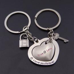 Cerradura de llave para coche online-Forma de corazón Cerradura Pareja Coche Llavero Bolsa Colgante Llavero Llavero de bloqueo de amor Forma de corazón Encanto Titular de la llave Soporte FBA Envío de la gota G652Q