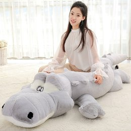 Wholesale Kids Plush Throw - Plush Crocodile Stuffed Toy 54.6in Soft Animals Toy Sleeping Pillow Gray Blue Crocodile Plush Pillow Toy Kids Decor Throw Pillow