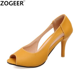 yellow sandals heels Australia - Plus size 48 2017 New Sweet Shoes Woman Summer Fashion Women Sandals Sexy Peep Toe High heel Ladies Pumps