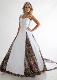 Wholesale Realtree Wedding - 2017 Gorgeous Wedding Dresses Halter Camo Realtree Print Embroidery Criss Cross Long Sweep Train Formal Bridal Gowns