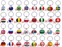 Wholesale Ball Keychains - 2018 Russia World Cup Hot Football Double Size Keychains Key ring Strong 32 Counties Soccer Key Chains Souvenir