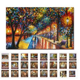 Wholesale Oil Painting Frame Knife - 100%Handmade Modern Palette Knife Park Street Oil Painting On Canvas Art Pictures For Room Decor Wall Paintings No Frame 60x90cm