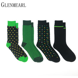 Wholesale Yellow Polka Dot Dress - 4 Pairs  Lot Cotton Men Socks Brand Business Spring Fall Plus Size Compression Coolmax Striped Point Funny Happy Dress Male Socks
