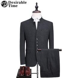 Abito da uomo color grigio scuro vestito da uomo slim fit da uomo in stile cinese con pantaloni DT109 da