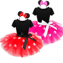 Wholesale Wholesale Mesh Skirts - Girl's micky cloth tutu skirt children's polka dot mesh dress dance tutu skirt with headband performace skirt