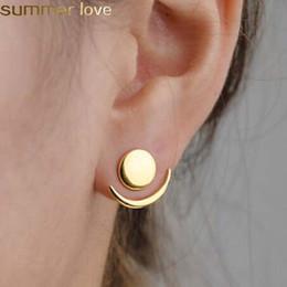 2019 chaquetas Fashion Crescent Moon Phase Earrings Cute Ear Chaquetas geométricas pendientes redondos del perno prisionero para las mujeres Sun Moon Set Earing regalos chaquetas baratos