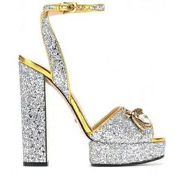 Wholesale silver peep toes - 2018 High Heel Platform Sandals Brand Designer Women Summer Runway Heels Peep Toe Models Fottwear Shoes Luxury Designer Chain Shoes S808