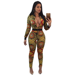 Wholesale Rompers For Sale - Jumpsuits womens Rompers 2018 Casual long sleeve baseball style digital print hot sale Sexy slim overalls for women
