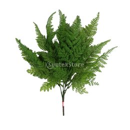 2019 cespugli di pianta 2 x Artificiale Boston Fern Fake Plant Bush 5 Forks Leaves Grass Foliage Home Decor per feste sconti cespugli di pianta