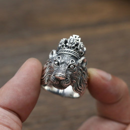 Männer kopf krone online-New Design Herrenmode Cool Steel Lion Ring Design Punk Crown Kreuz Lion Head Schmuck Ring Geschenke