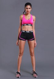 Wholesale Wool Sport Pants - Valentines Day pink womenTracksuits sport yoga Shockproof suit fitness bra shorts gym top pants running underwear sets