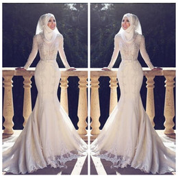 Wholesale tulle hijab - 2018 Modest Slim Fishtail Arabic Style Mermaid Wedding Dresses Long Sleeves Lace Applique O Neck Hijab Mermaid Long Bridal Gowns Muslim
