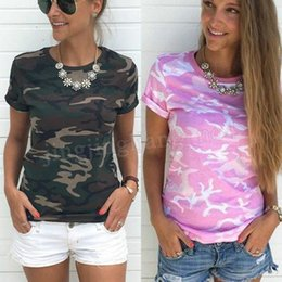 Wholesale female camouflage clothing - 30 pcs Summer Casual Women T Shirt O-Neck Short Sleeve Printed Camouflage Shirt Cotton Women Clothing Female Maternity tops MMA204