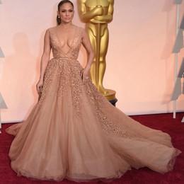 vestido v profundo oscar Desconto Jennifer Lopez Vestidos de Noite Celebridade Oscar V profundo Neck Rhinestone Red Carpet Dresses 88th Oscar Prom Dresses DH1000