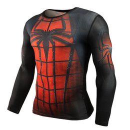 Wholesale Superman T - Hot Sale Fitness MMA Compression Shirt Men Anime Bodybuilding Long Sleeve Crossfit 3D Superman Punisher T Shirt Tops Tees