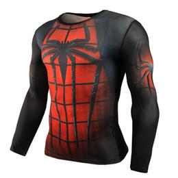 Wholesale black superman t shirt - Hot Sale Fitness MMA Compression Shirt Men Anime Bodybuilding Long Sleeve Crossfit 3D Superman Punisher T Shirt Tops Tees