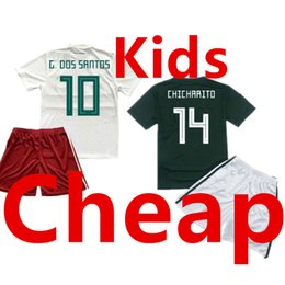 Argentina México Kids Soccer Jersey establece la Copa Mundial 2018 Children Away White Football Uniform Kit Niños Home Green Camisetas Niños Camisas Youth Shirt cheap green youth football jersey Suministro