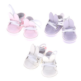 Wholesale zapf dolls - 1Pair Cute Rabbit shoes For 18 inch 45CM American Girl Doll , shoes for 43CM Zapf doll reborn baby