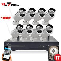Wholesale Bullet Surveillance Cameras - Wifi NVR Surveillance Kit Plug Play P2P 8CH 2.0MP HD 1080P 20m Night Vision Waterproof Outdoor Wireless DVR Camera CCTV Set