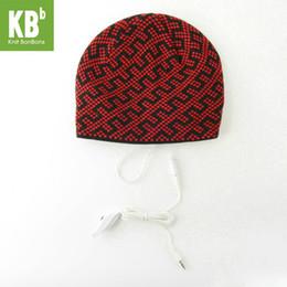 Mp3 primavera online-2018 KBB Primavera CALDO Inverno Comodo Nero Nero Linea Blocky Design Knit Musica MP3 Cuffia in maglia Cappello invernale Berretto per donna Uomo