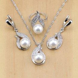 Toda saleFreshwater Pérola Com Beads Conjuntos de Jóias de Prata 925 Jóias decoração de casamento Para As Mulheres Brincos / Pingente / Anel / Colar Conjunto de