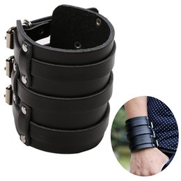 MSemis Mens PU Leather Arm Warmers Wide Bangle Cuff Wristband Bracelet Belt with Three Buckle Clasps Bracer Protective Arm Armor от Поставщики мужские ремни широкие пряжки