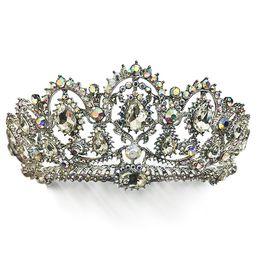 Wholesale Pageant Queen Jewelry - Korean Bridal Tiara Wedding Crown Crystal Bridal Tiaras Bridal Headpiece Baroque Queen Crown Rhinestone Party Show Pageant Tiaras Crown