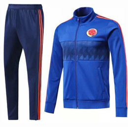 Wholesale Jackets Men Sale - Colombia Tracksuit jacket set Soccer Jersey 2018 world cup Best quality #10 JAMES Football uniform sales Training suit Sport chandal suit