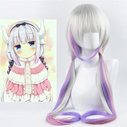2019 peluca de cola morada Anime Kanna Long Ponytail Gray Mix Purple Cosplay Party Peluca de pelo sintético resistente al calor peluca de cola morada baratos