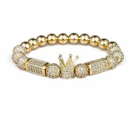 Canada 2018 Marque À La Mode Impériale Couronne Charme Bracelets 8 MM Micro Pave CZ Perle Ronde Femmes Hommes Bijoux De Cuivre Pulseras Mujer Bileklik Offre
