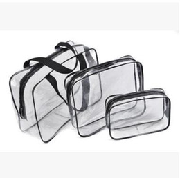transparente make-up-tasche organizer Rabatt 3pcs Klar Make-up Kosmetiktaschen Portable Toiletry Travel Wash Aufbewahrungstasche Transparent Wasserdicht PVC Tasche Organizer Fällen
