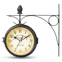 Wholesale Metal Clock Dials - Charminer Double Sided Round Wall Mount Station Clock Garden Vintage Retro Home Decor Metal Frame Glass Dial Cover
