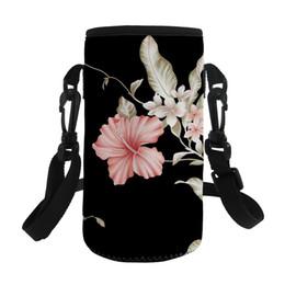 bolsos de niña de flores negro Rebajas ELVISWORDS Bolsas de agua de flores negras para mamá Bolsas de viaje de almacenamiento de información de impresión exterior Calentador Bolso de escuela Bolso de niñas de escuela