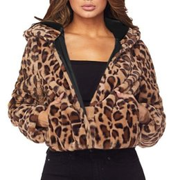 1cbd0e96456 2018 Hot Sale Women Plus Size Winter Leopard Hoodie Faux Fur Long Sleeve  Cardigan Jacket Hoodies Outwear Coat