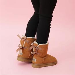 обувь для детей Скидка Модная детская обувь из натуральной кожи Снежные ботинки для малышей Ботинки с бантиками Детская обувь для девочек Снежные ботинки