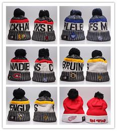 chapéu cinzento do bobble Desconto Estilos de atacado NHL Mulheres Inverno Gorro De Malha De Lã Blackhawks Pinguins Panfletos Tubarões Gorros Unisex Chapéus Casuais Caps Homens Hip-Hop Gorro