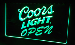 Wholesale Coors Beer Neon Sign - LS451-g Coors Light Beer OPEN Bar Neon Light Sign Decor Free Shipping Dropshipping Wholesale 8 colors to choose