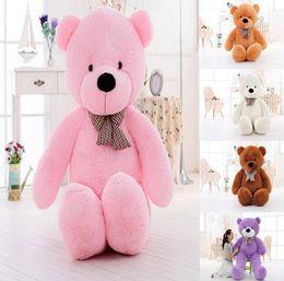 Wholesale giant stuffed bear pink - New 5 Color TEDDY BEAR STUFFED LIGHT BROWN GIANT JUMBO 60cm 80cm 100cm 120cm birthday gift Christmas gift