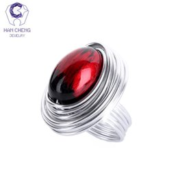 Wholesale Big Stone Beads - whole saleHanCheng Fashion Multi Color Wind Metal Wire Craft Stone Handmade Wooden Beads Ring Big Oval Rings For Women Jewelry Gem Bijoux