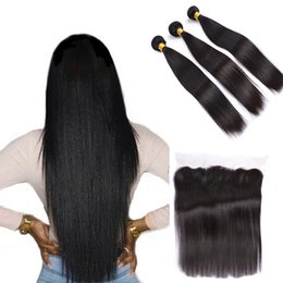 Wholesale Full Length Mink - Top 9A Mink Brazilian Hair With Closure Human Hair Straight With Full Lace Frontals Ear To Ear Lace Frontal Closure With Bundles
