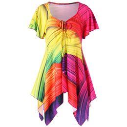 765d25aed57ee7 2018 Plus Size Empire Waist Rainbow Handkerchief T-Shirt Women T Shirt  Summer V-Neck Short Sleeves T-Shirts Ladies Tops 5XL
