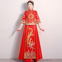 Костюмы чонсама онлайн-китайский стиль невесты вышивка cheongsam свадебная церемония платья костюм вечернее платье показать одежда тонкий Феникс Qipao