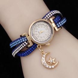 Discount lady korea watch - Fashion ladies bracelet watch Korea velvet full moon pendant quartz watch ladies